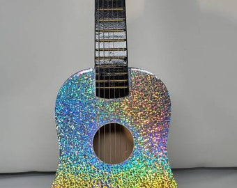 holograohic sparkle silver Glittered toy guitar rock star kids toy wooden guitar  makes  sounds