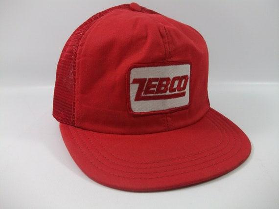 Zebco Patch Hat Vintage Red Snapback Trucker Cap M