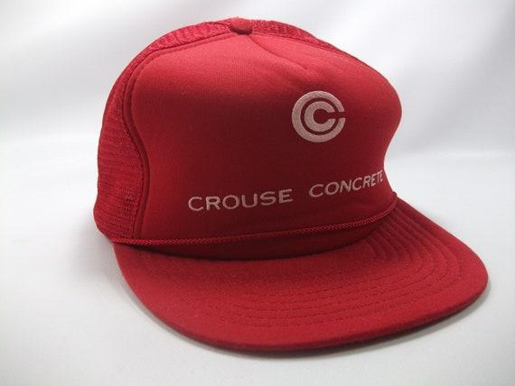 Crouse Concrete Hat Vintage Red Snapback Trucker C
