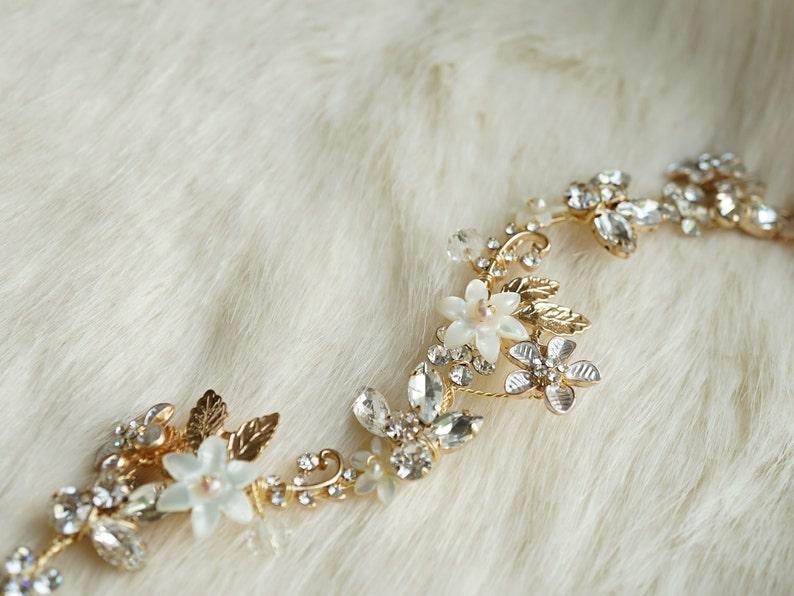 Gilded Garland Headband Tie-Back Headband Pearl and Crystal Floral Hair Vine