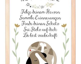 HUND Kunstdruck, Poster, Geschenk, Deko, Bild, Familie, Zuhause, Wandbild