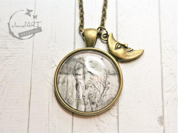 "Necklace bronze 25 mm-""Zebra"" daydreamer with moon"