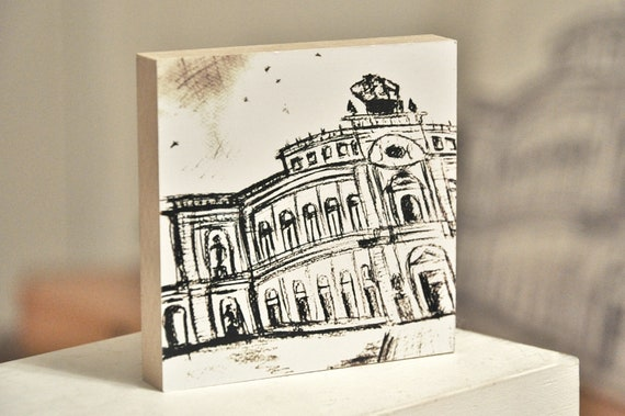 "Wooden picture 10 x 10 cm - Dresden ""Semperoper"""