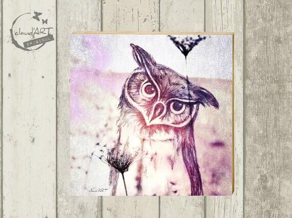 "Photo on wood 10 x 10 cm-daydreamer ""Uhu"""