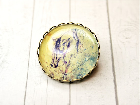 "Brooch m. Needle Bronze color 25 mm Ø-""Horse"" daydreamer"