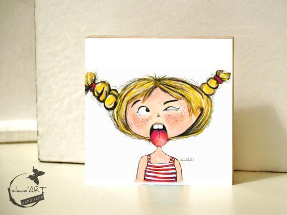 "Wooden picture 10 x 10 cm - ""Maja"" Püppi's"