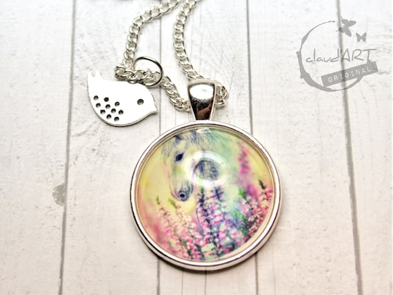 "Necklace silver colored 25 mm-""Ohorn"" daydreamer m. Bird"