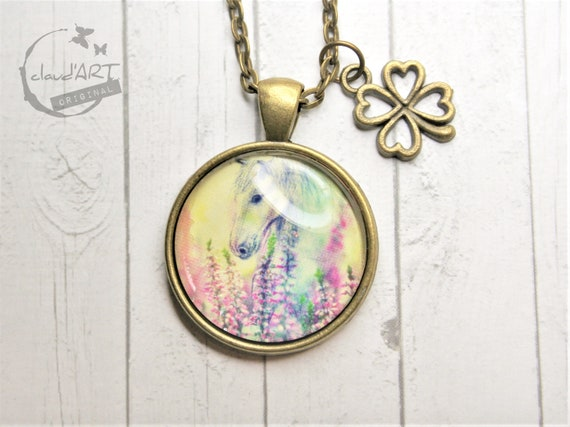 """Necklace bronze 25 mm-""""Ohorn"""" daydreamer with clover"""