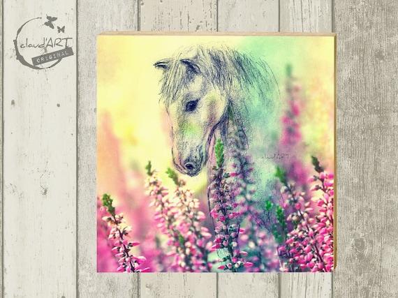 "Photo on wood 10 x 10 cm-daydreamer ""Ohorn"""