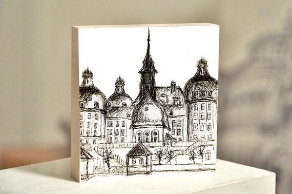 """Wooden painting 10x10 - Dresden """"Schloss Moritzburg"""""""