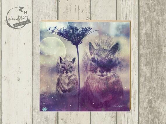 """Photo on wood 10 x 10 cm-daydreamer """"squirrel"""""""