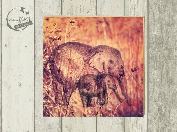 "Photo on wood 10 x 10 cm-daydreamer ""elephant mama"""