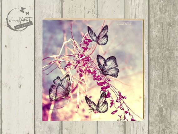 "Photo on wood 10 x 10 cm-daydreamer ""butterfly"""