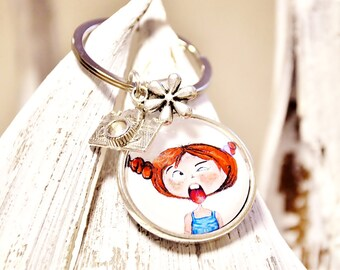 "Keychain - ""Frida"" Püppi's - Cabochon pendant with children's motif 25 mm"
