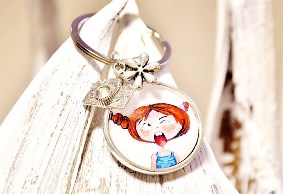 "Keychain - ""Frida"" Püppi's - Cabochon pendant with children's motif 25 mm"