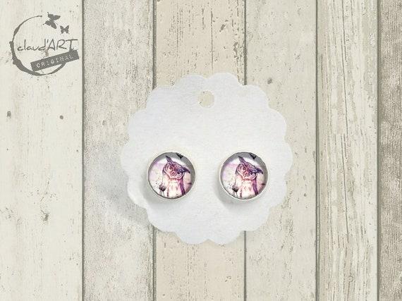 "Stud Earrings Set Silbernfarb. -Daydreamer ""Owl"""