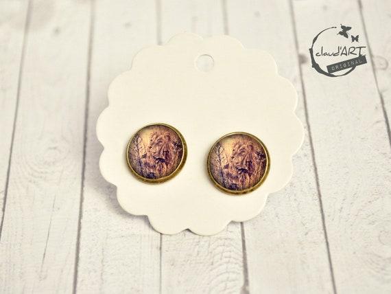 """Earrings set bronze. -daydreamer """"Lion"""""""