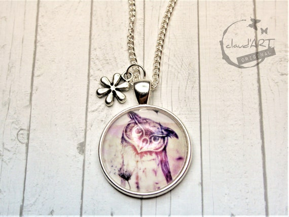 "Necklace silver colored 25 mm-""Uhu"" daydreamer with flower"