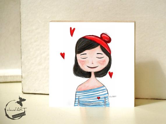 "Wooden picture 10 x 10 cm - ""Charlott"" Püppi's"