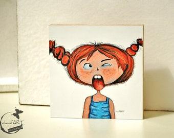 """Wooden painting 10 x 10 cm - """"Frida"""" Püppi's"""