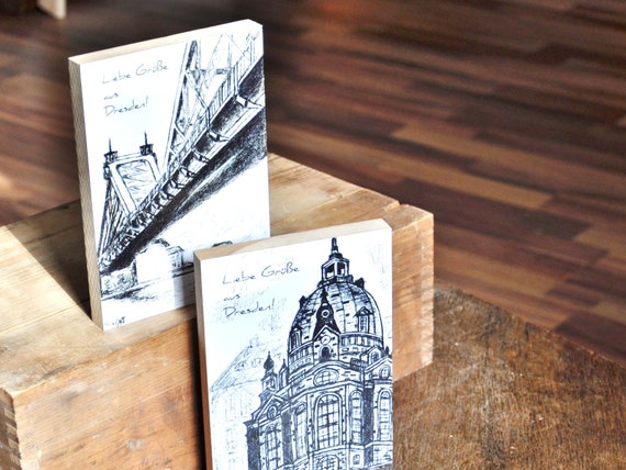 """Wooden postcard 12 x 17 cm-Dresden """"Frauenkirche"""""""