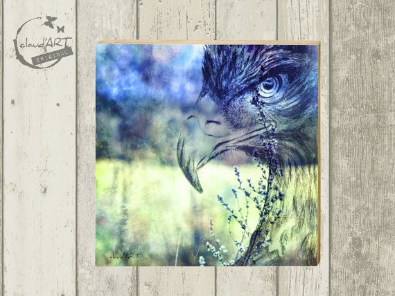 "Photo on wood 10 x 10 cm-daydreamer ""Eagle"""