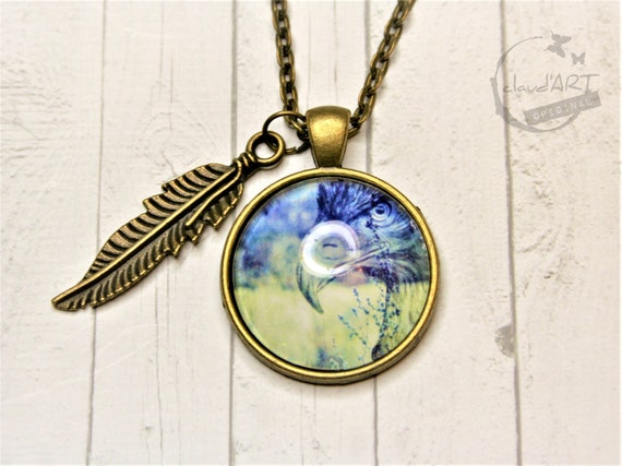 """Necklace bronze 25 mm-""""Eagle"""" daydreamer with feather"""