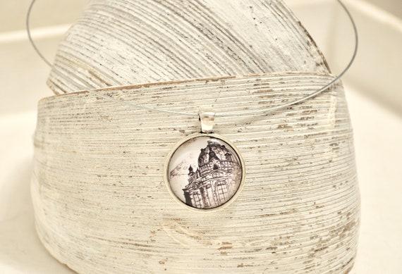 "Necklace silver - Dresden ""Women's Church"" B/W"