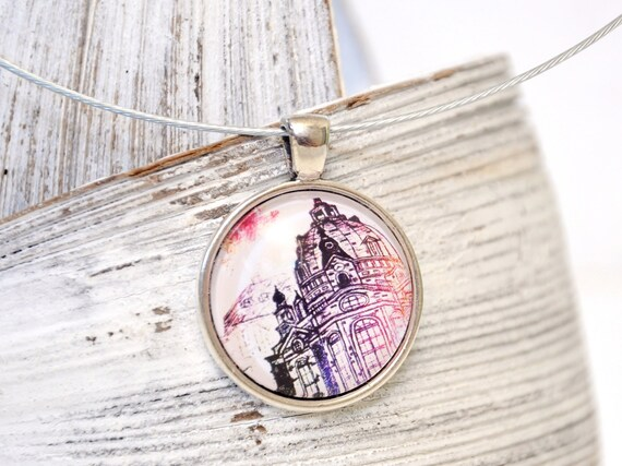 """Chain with pendant - Dresden """"Frauenkirche"""" colorful"""