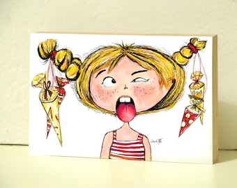 """Wooden picture 10 x 15 cm - """"Maja"""" School Beginning Püppi's"""