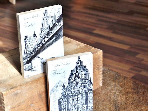 "Wooden postcard 12 x 17 cm-Dresden ""Blue Wonder"""