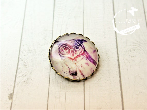 "Brooch m. needle bronze 25 mm-""Uhu"" daydreamer"