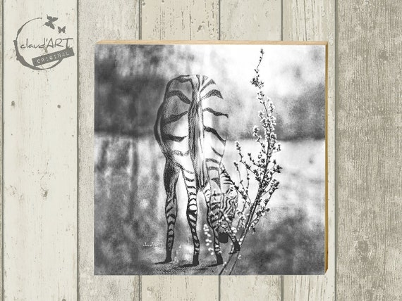 "Photo on wood 10 x 10 cm-daydreamer ""Zebra"""