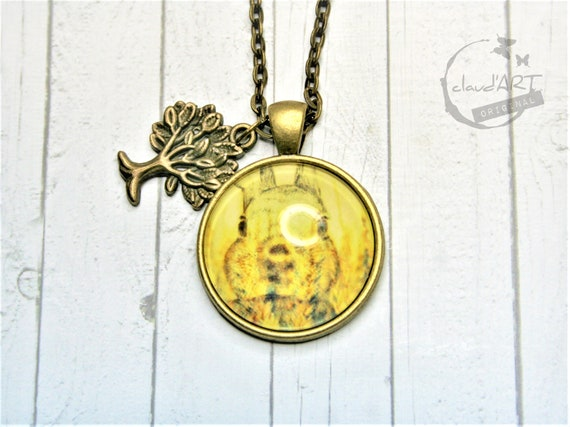 "Necklace bronze 25 mm-""bunny"" daydreamer with tree"