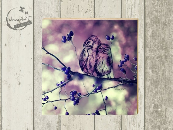 "Photo on wood 10 x 10 cm-daydreamer ""owl pair"""