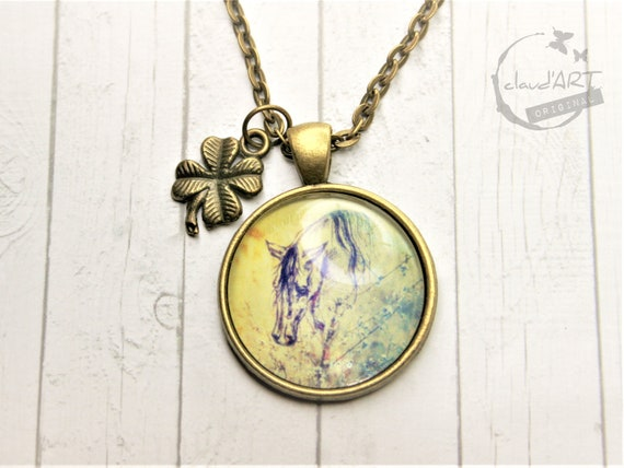 "Necklace bronze 25 mm-""horse"" daydreamer m. clover leaf"