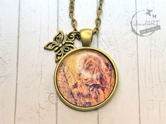 "Necklace bronze 25 mm-""lion"" daydreamer m. Butterfly"
