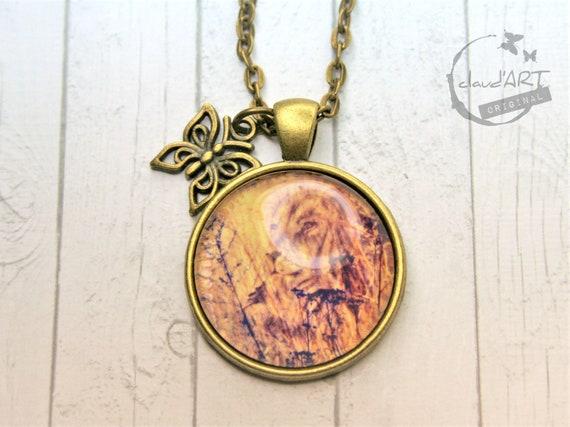 "Necklace bronze 25 mm-""lion"" daydreamer m. Butterfly"