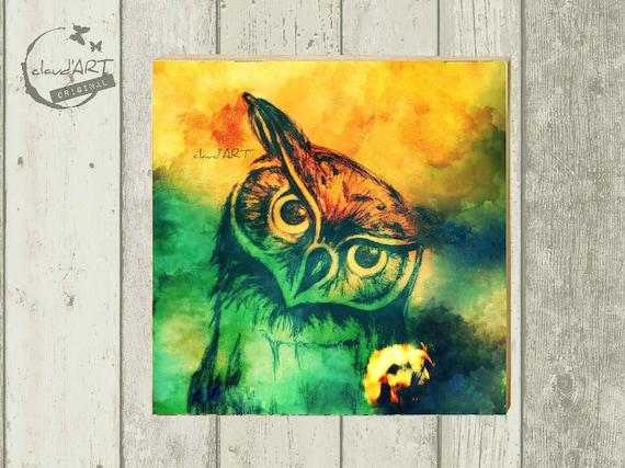"Photo on wood 10 x 10 cm-daydreamer ""owl orange"""