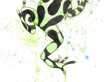 Poison dart frog splatter art aurartus green and black frog signed print