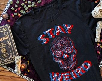 eb48fba7199c5 Stay Weird Sugar Skull T Shirt Dia De Los Muertos Skull Black Sheep Trippy  Art Optical Illusion Glitch Psychedelic Clothing T Shirts Men