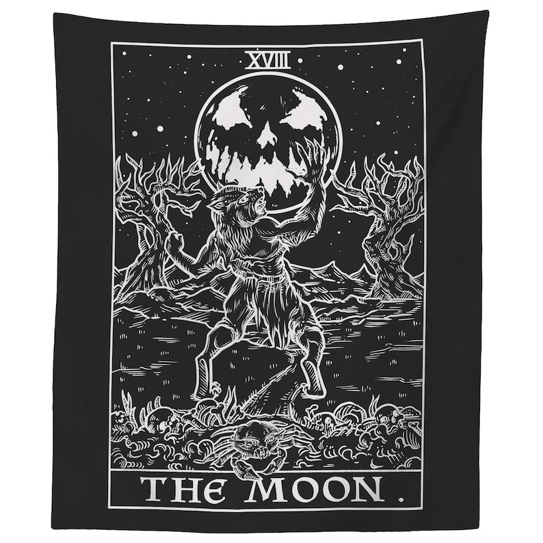 The Moon Tarot Card Tapestry Halloween Bedroom Decor