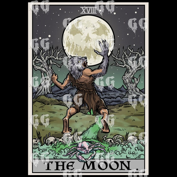 The Moon Tarot Card Tapestry Halloween Wall Hanging Gothic Home Decor Werewolf