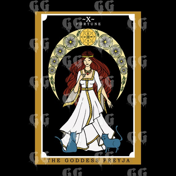 Freyja Norse Pagan Witch Art Prints Tarot Card Tapestry Wicca Wheel of Fortune