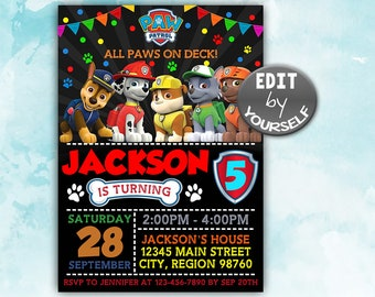 Paw Patrol Invitation Birthday Instant Download Party Invite
