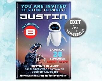 Wall E Invitation Birthday Party Download Decor Supplies