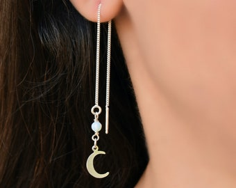 f9934620d Long Silver Chain Earrings, Drop Earrings, Crescent Moon Earrings, Boho  Dangle Earrings, Moonstone Earrings, Thread Earrings Sterling Sliver