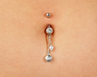 BP1 Belly button piercing with abalone
