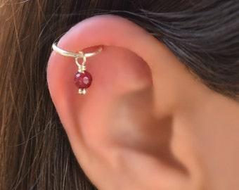 5670bee2e Ruby Helix Ear Piercing, Helix Earring Hoop, Ruby Bead Cartilage Earring,  Cartilage Hoop Silver, Single Hoop Earring Sterling Silver