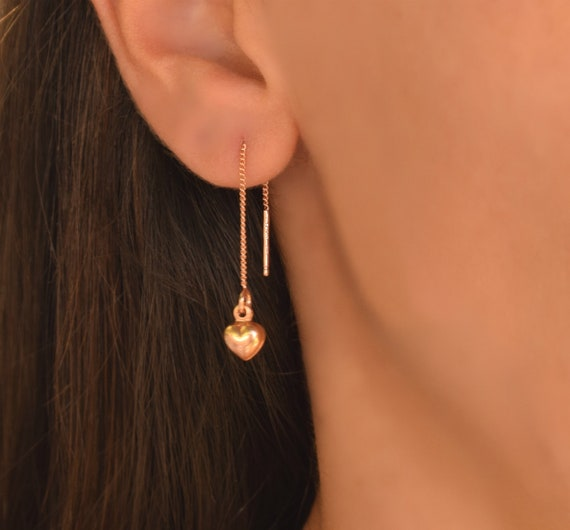 Rose Gold Heart Threader Earrings Pull-through Delicate 14k Rose Gold Fill Simple 925 Sterling Silver Minimalist